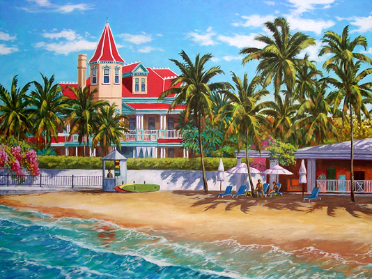 South Beach With Southernmost House Key West Art By George K Salhofer
